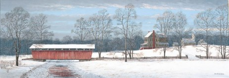 House and Bridge in Winter