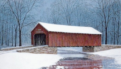 Red Bridge in Snow