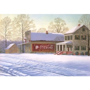 House and Store in Snow